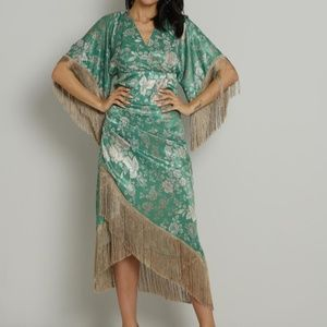 Dresses & Skirts - PRINTED ASYMMETRICAL MOCK WRAP FRINGED SKIRT